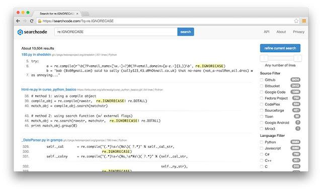 محرك بحث خاص للبحث عن اكواد جاهزة في جميع لغات البرمجة 20 بليون سطر برمجي