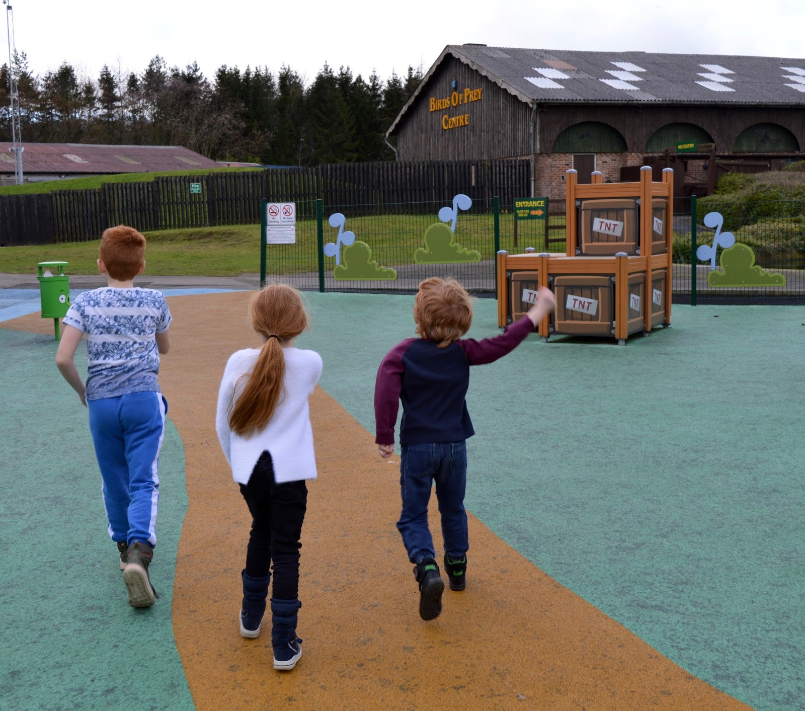 Visiting Angry Birds Activity Park at Lightwater Valley, North Yorkshire - heading towards the birds of prey centre