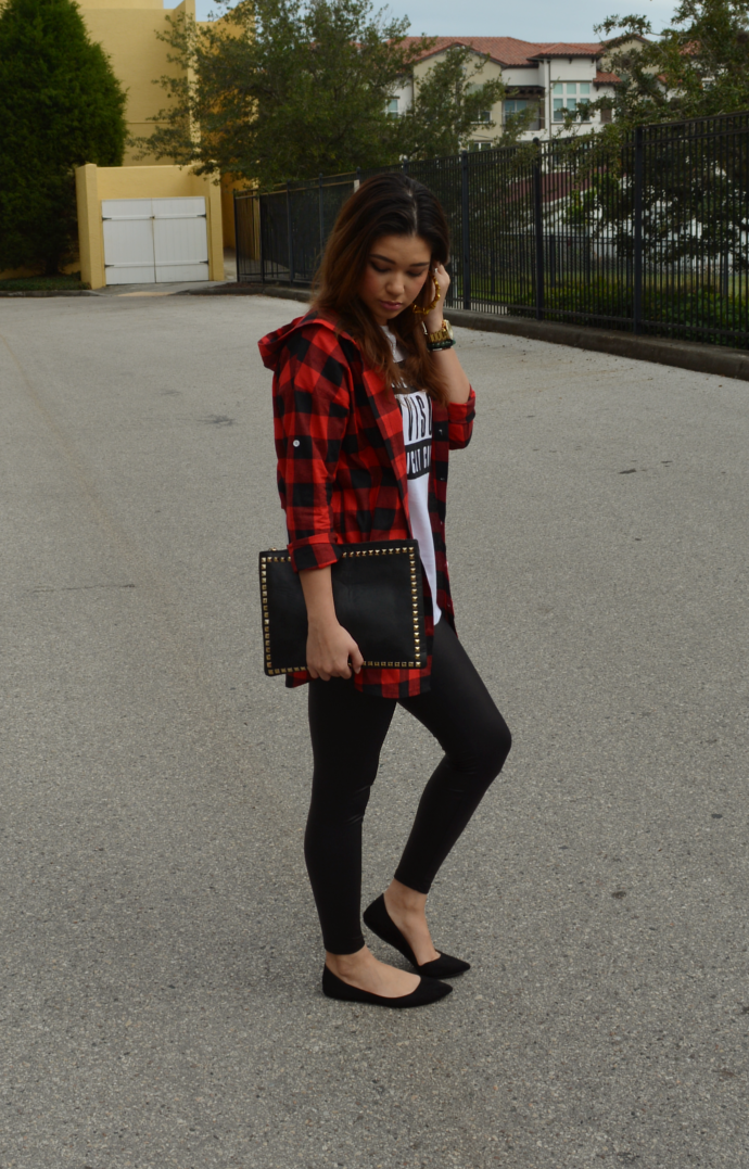 SheIn, Red Hooded Long Sleeve Plaid Loose Blouse, Plaid Shirt, White Short Sleeve Letters Print T-Shirt, Graphic Shirt, PU Leather Leggings, Studded Clutch, Makemechic, Pointy Flats