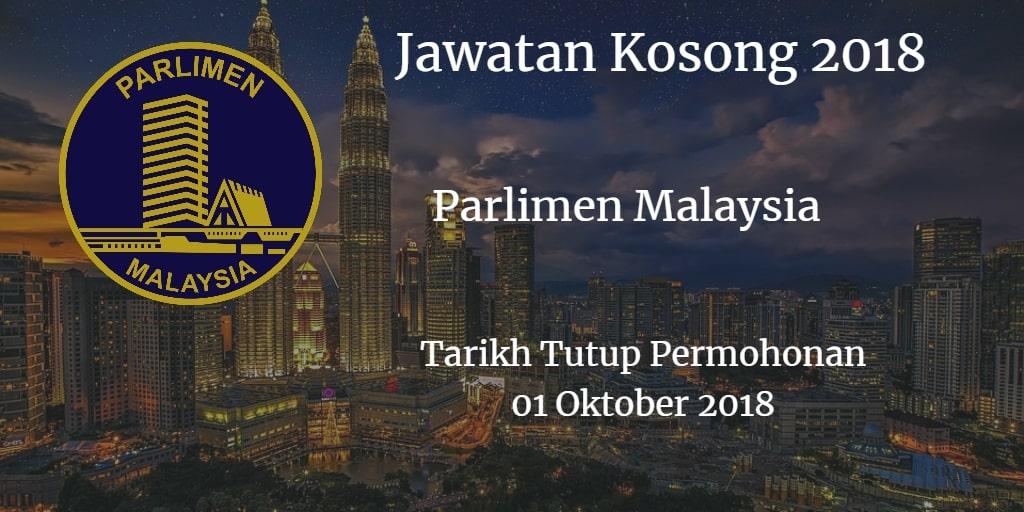 Jawatan Kosong Parlimen Malaysia 01 Oktober 2018