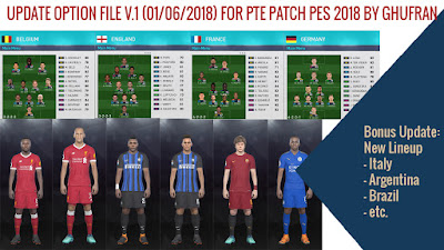 PES 2018 PTE Patch 2018 Option File 01-06-2018 by Ghufran