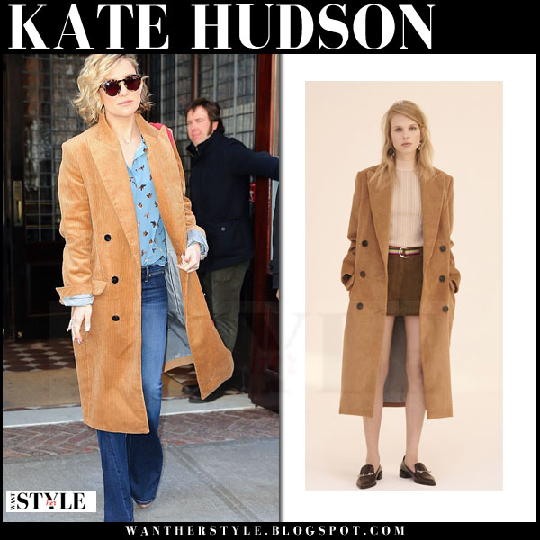 Kate Hudson in camel topshop coat and flared jeans what she wore streetstyle