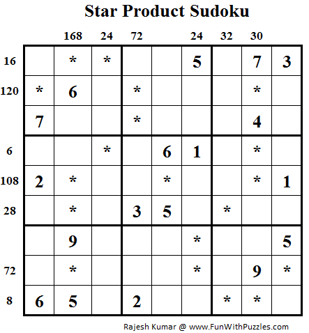 Star Product Sudoku (Daily Sudoku League #89)