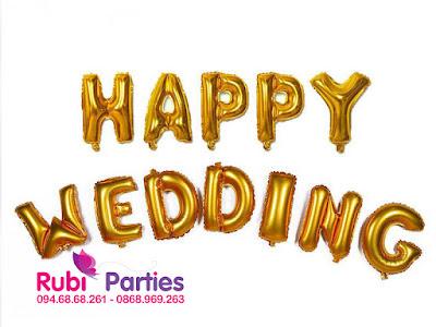 Bong chu HAPPY WEDDING mau vang