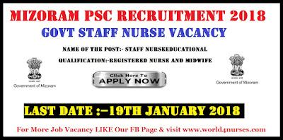 Mizoram PSC Recruitment 2018 Latest Govt Staff Nurse Vacancy