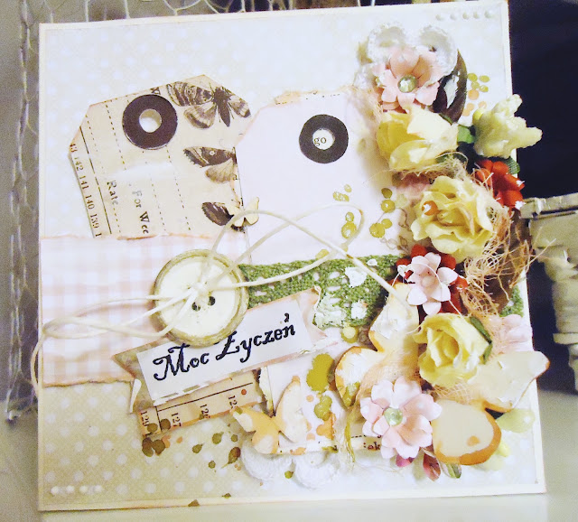 kartka z kwiatami, nietypowa kartka artystyczna