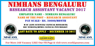 NIMHANS Bengaluru Research Assistant Vacancy 2017