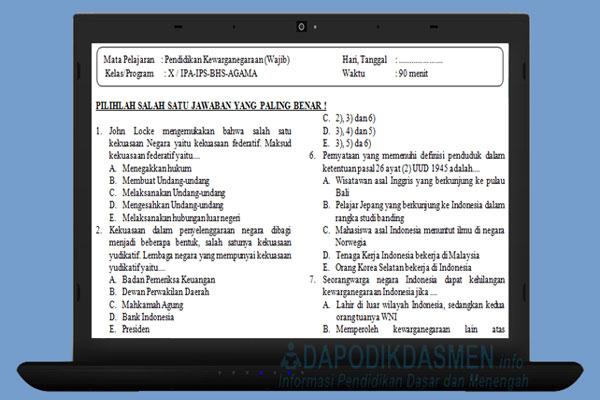 Soal PAT UKK PKn SMA MA Kelas 10 Kurikulum 2013 Tahun 2019
