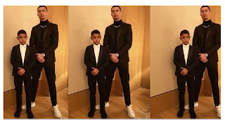 Juventus striker, Cristiano Ronaldo shared a gorgeous photograph of himself and his first child Cristiano Ronaldo Jr. pausing dramatically in coordinating suits and we can't resist the urge to label it 'father-child objectives