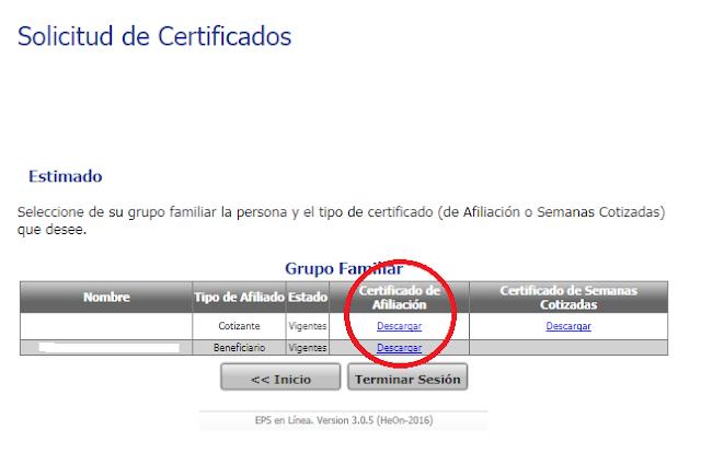 certificado cafesalud eps salud en linea