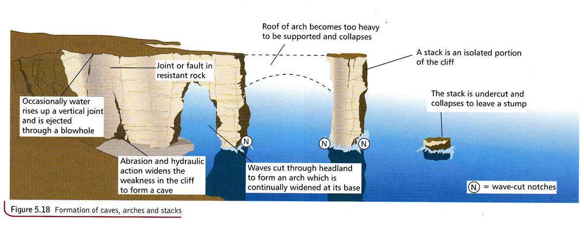 caves arches stacks and stumps diagram wiring for warn winch the coast coastal landforms features of erosion showing formation stump