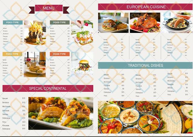 sencilla pero presentable plantilla para menu de restaurante