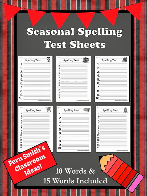Fern Smith's Classroom Ideas Seasonal Spelling Test Printables at TeacherspayTeachers store. #FREE #TPT