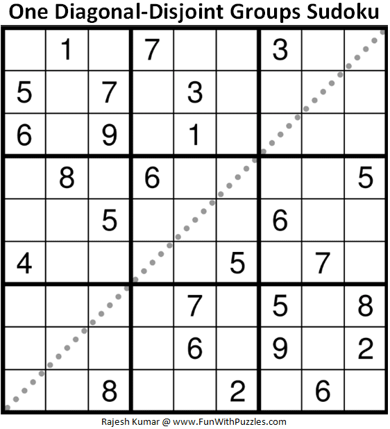 One Diagonal-Disjoint Groups Sudoku Puzzle (Fun With Sudoku #358)