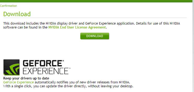 الخطوة الأخيرة لتحميل تعريف كرت الشاشة NVIDIA