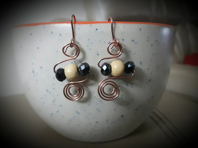 Copper Jewelry, Copper Wire Bead Rings, Copper Wire Ear Rings