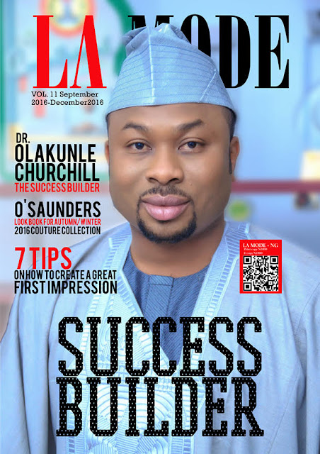 Tonto Dike's Husband, Churchill cover La Mode Magazine