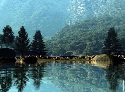 Gambar Terindah Pemandangan Alam Dunia Pinggir Danau Super Jernih Pegunungan dan Hutan