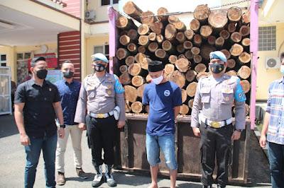 Pelaku illegal logging Kayu Akasia Mangium di tangkap Sat Reskrim Polres Lebak