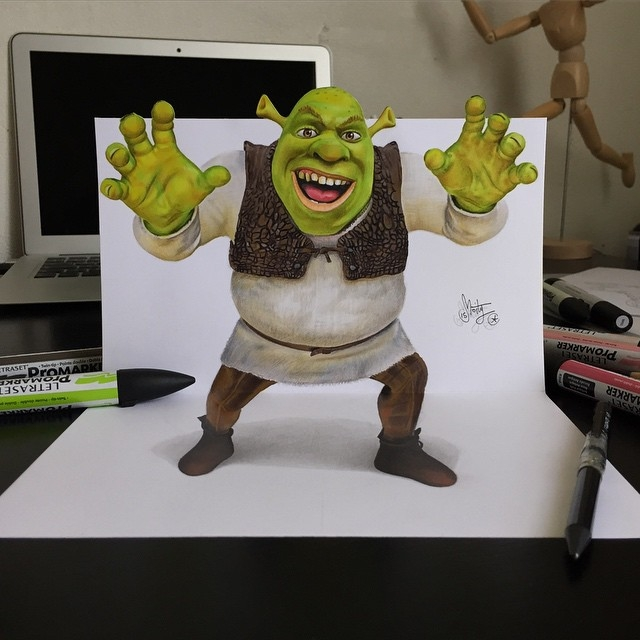 01-Shrek-Stephan-Moity-2D-Drawings-Optical-Illusions-made-to-Look-3D-www-designstack-co