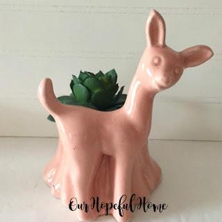 midcentury modern Haeger pink deer planter