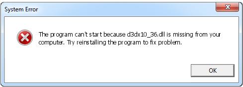 Télécharger D3dx10_36.dll Fichier Gratuit Installer