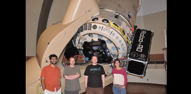 Robo-AO team members Shriharsh Tendulkar, Reed Riddle, Christoph Baranec, and Kristina Hogstrom in front of the Robo-AO system during an observing run. Credit: Christoph Baranec/University of Hawai'i