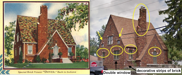 on left, 1930 catalog image of Mitch Mowrer's 1929 brick Dover • on right, real photo of same house