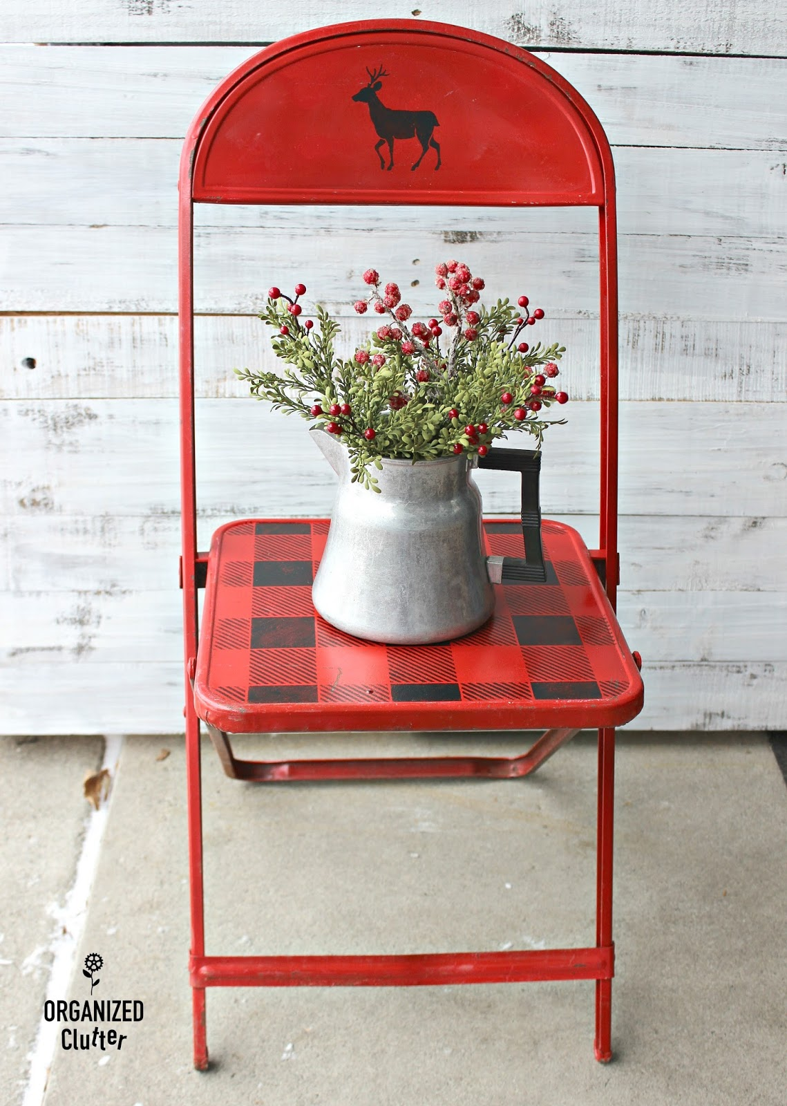 folding chair upcycle white garden chairs plastic thrift shop vintage child 39s metal christmas