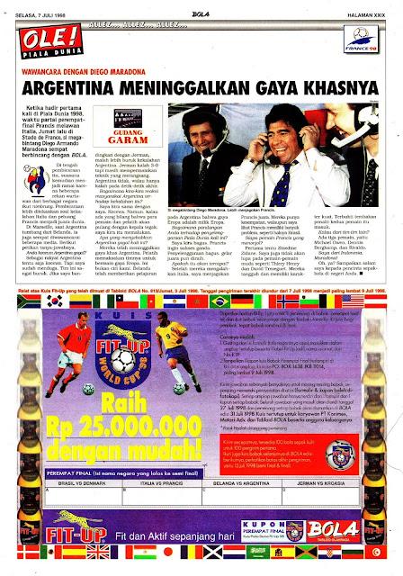 PIALA DUNIA 1998 DIEGO MARADONA ARGENTINA MENINGGALKAN GAYA KHASNYA