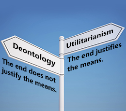 utilitarian and deontological implications of the Utilitarian theories utilitarianism utilitarianism is a normative ethical theory that places the locus of right and wrong solely on the outcomes (consequences) of choosing one action/policy over other actions/policies.