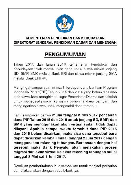Info Terbaru Pencairan Dana Program Indonesia Pintar 2015 dan 2016 dengan Akun Virtual
