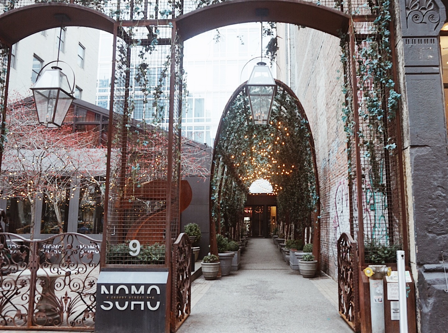 The green arch of the Nomo Soho in New York City