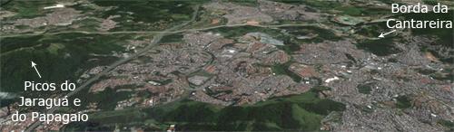 O bairro Jaraguá é o espaço entre os dois picos e a Borda da Cantareira