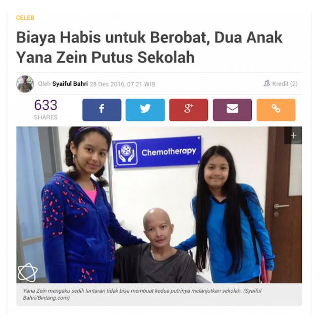 Yana Zein Terkena Kanker Payudara Jenis Penyakit Kritis Anak Putus Sekolah