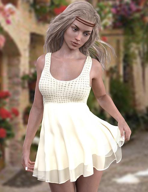 X-Fashion Crochet Dress for Genesis 3 Female