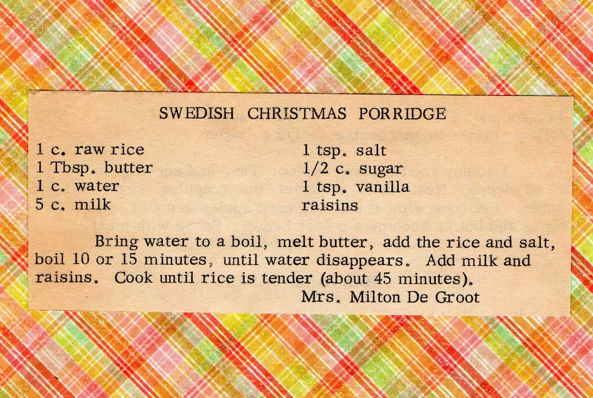 Swedish Christmas Porridge (recipe)
