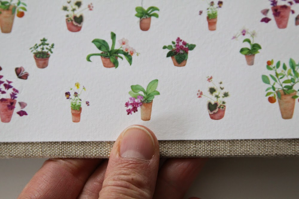 tiny watercolor potted plants