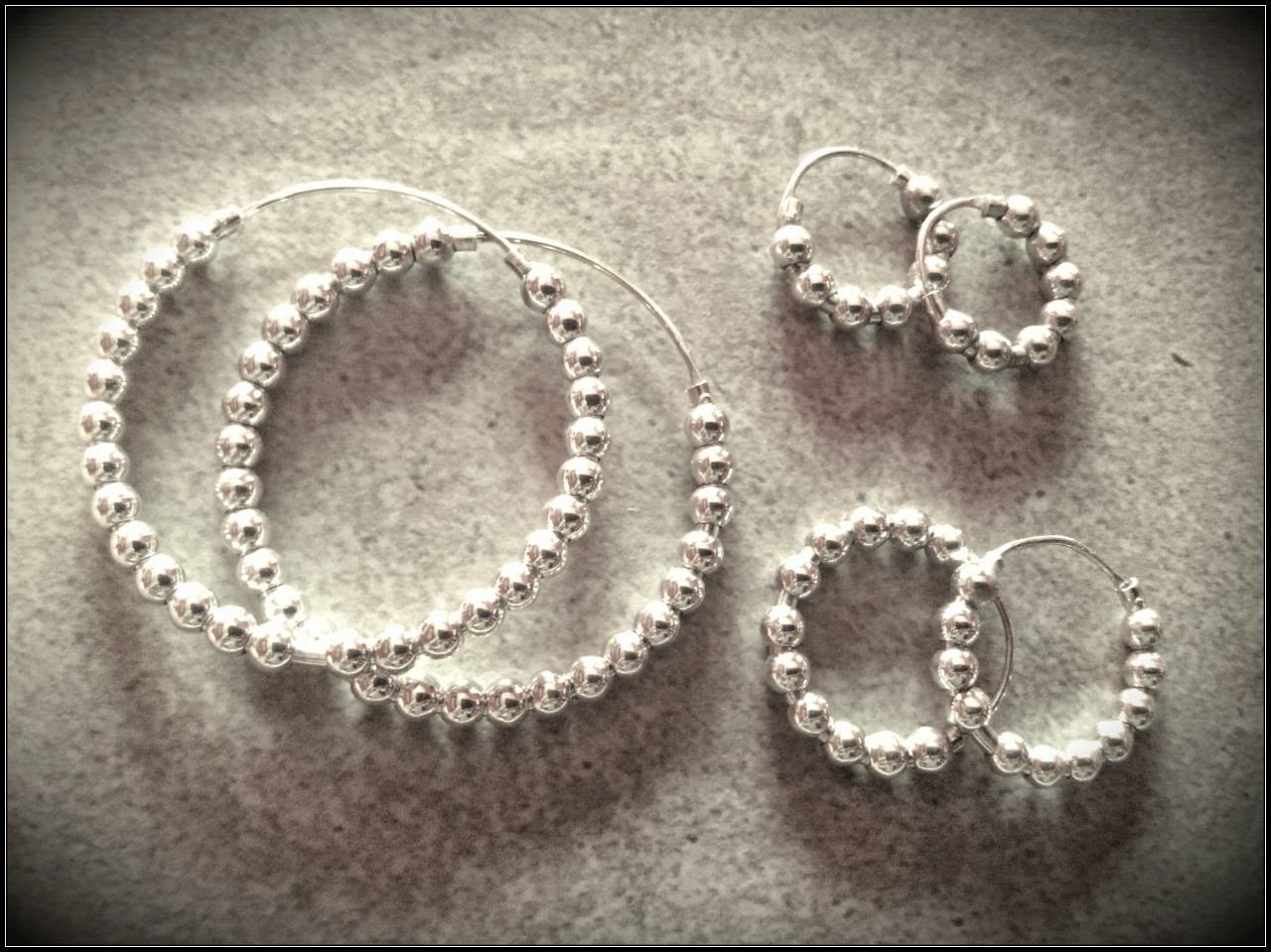 Pendientes aros de plata, joyería artesanal personalizada, para mamas e hijas