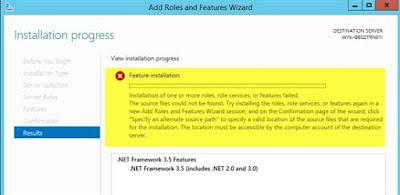 .net framework 3.5 installation failed