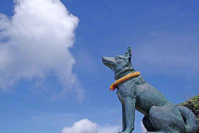 dog, statue, sky, clouds