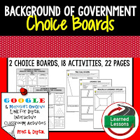 Civics and Government Digital Learning Choice Boards, Google Lessons, Background of Government