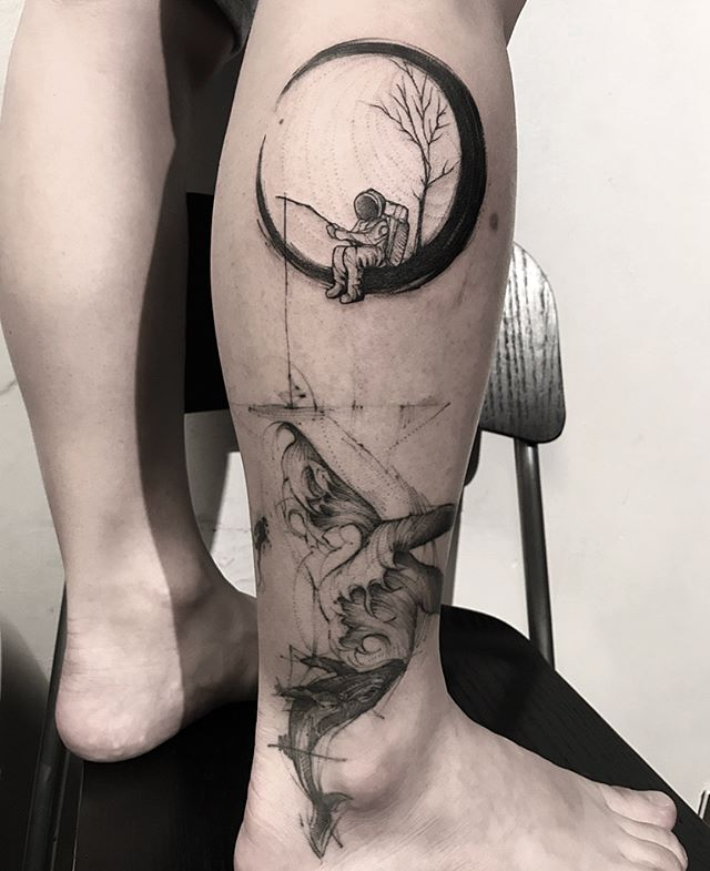 minimalist astronaut tattoo