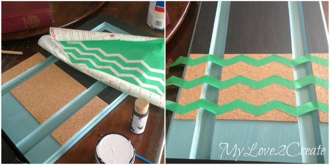 Using contact paper as chevron stencil