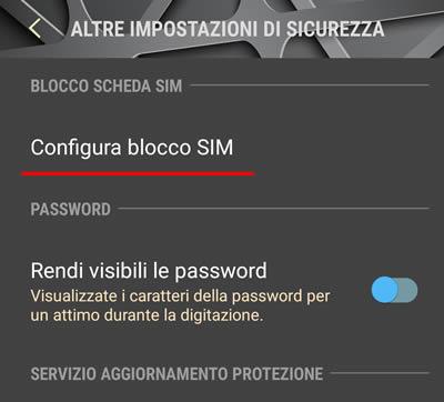 Togliere la password della SIM su Android