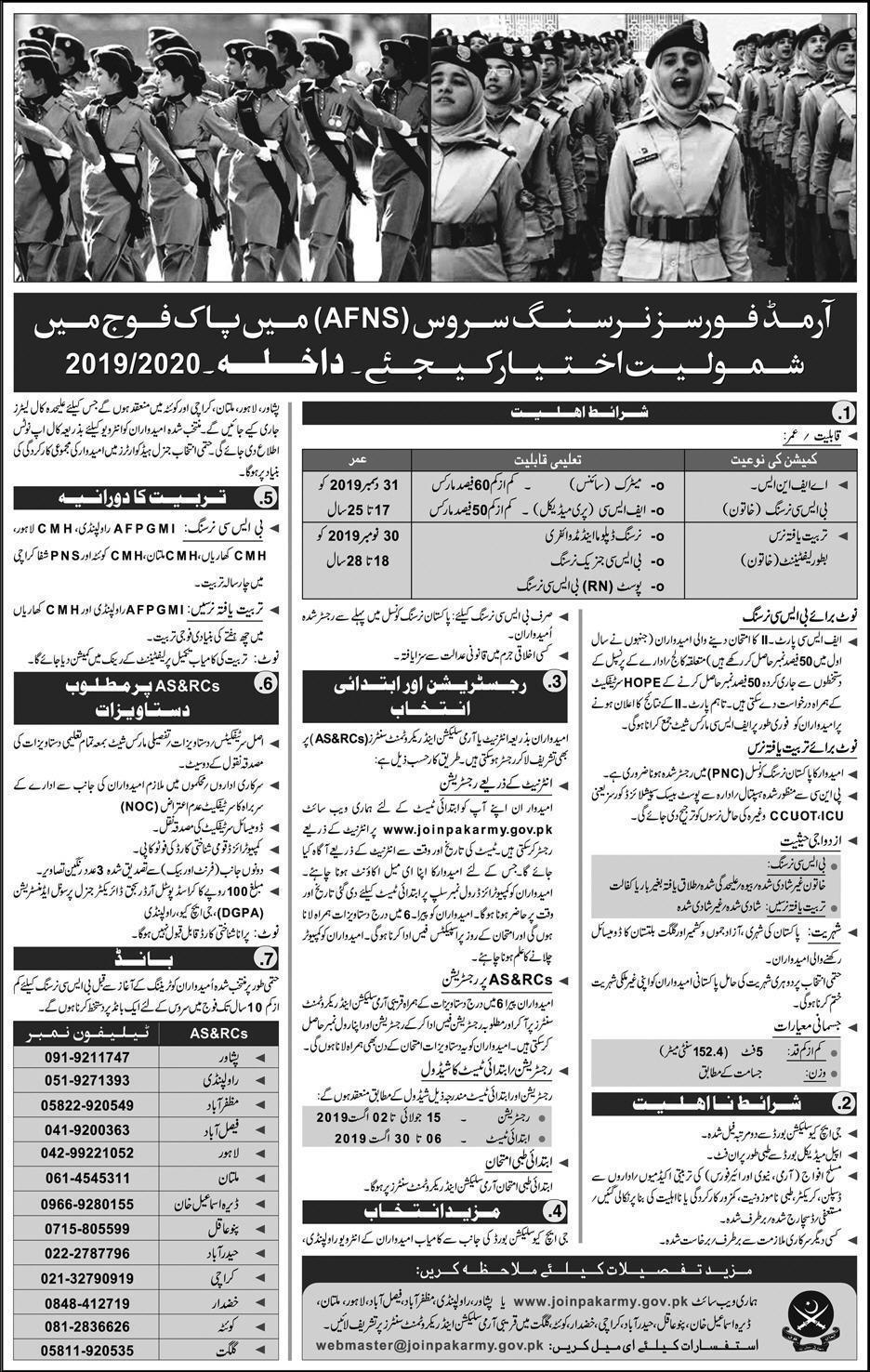 Nursing Jobs in Pakistan Army 2019 Online Apply