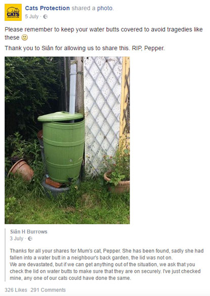 Warning about the safety of water butts