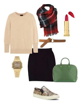 Look casual com saia de malha preta, ténis padrão cobra, mala de mão verde, camisola bege com cinto camel e cachecol plaid