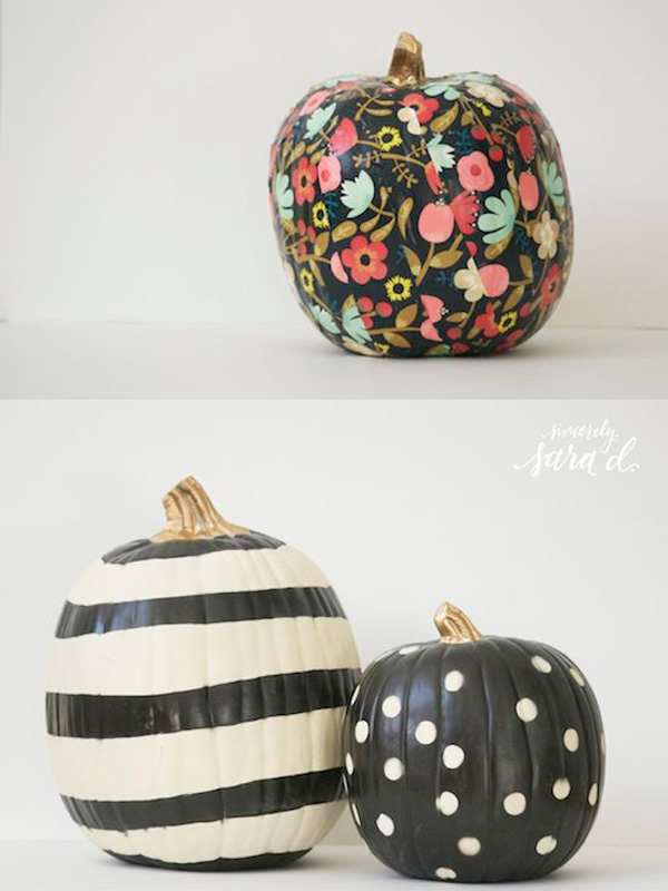 http://sincerelysarad.com/unique-ways-to-decorate-pumpkins/