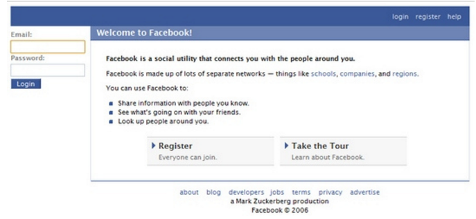 Facebook Log-in Page 2006